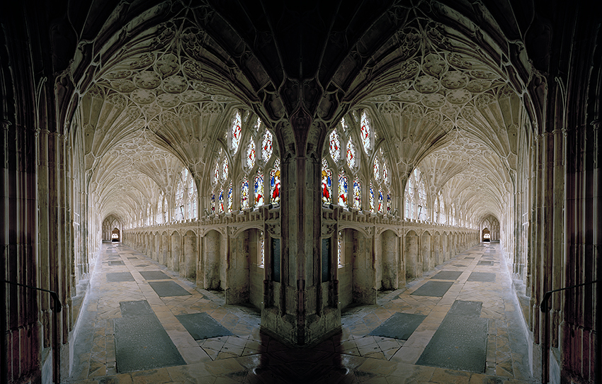 The gothic cloister of Gloucester Cathedral, England